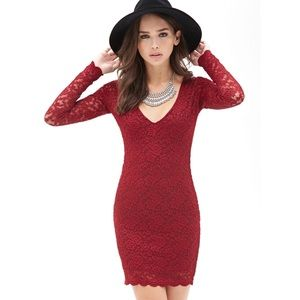 Burgundy Lace Overlay Scallop Hem Bodycon Dress